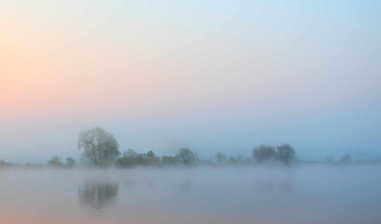 туман, утро, вода, река, небо, деревья,