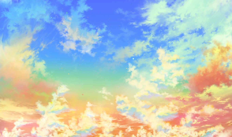 небо, яркие, золотое, свет, gold, звезды, oblaka, heaven, категории,