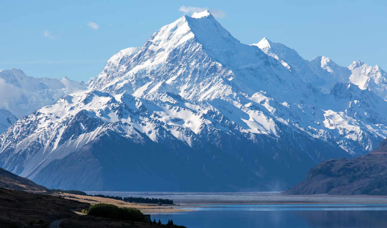 , горы, mount, снег, national, озеро, cook, park, zealand, aoraki,