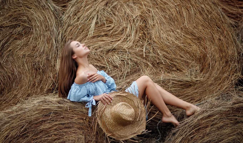 девушка, сено, стог, шляпа, pazlyi, настроение, платье, summer, поза, цветы