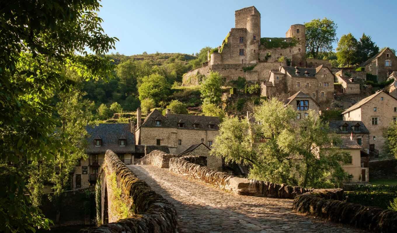 мост, город, francii, castle, house, belcastel, ages