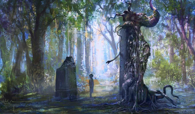 лес, памятник, мальчик, камень, статуя, деревья, змея, листва,