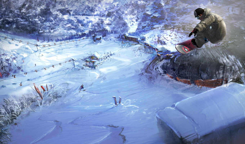 snowboard, снег, сноубордист, горы, сноубординг, зима, спуск, спорт,
