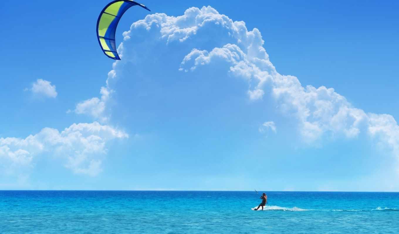 море, небо, облака, кайтинг, сёрфинг,