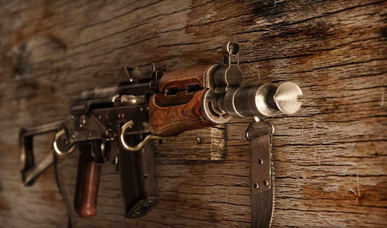 оружие, автомат, АК-74, стена, деревянный