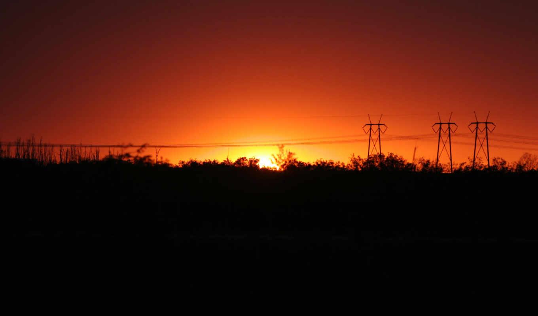закат, девушек, подборка, красивых, powerline, sun, небо,