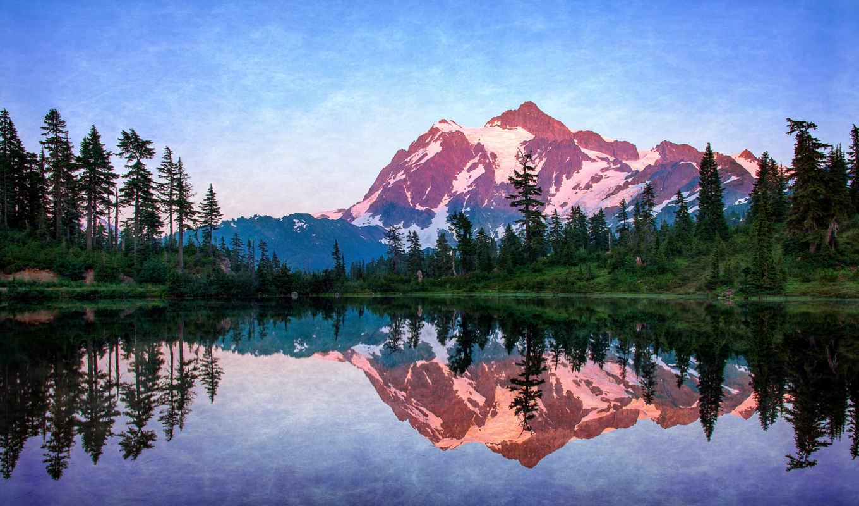 landscape, озеро, горы, небо, природа, лес, master, summer, живописи,