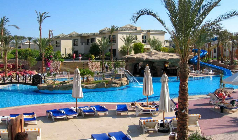 курорты, города, очарование, эль, sharm, sheikh, египет, бассейны, пальмы, пепельный,