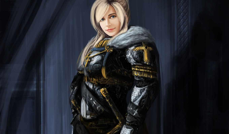 fantasy, воин, девушка, blonde, войны, оружие, улыбка,