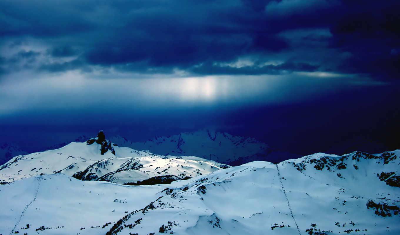 горы, снег, whistler, тучи, самые, небо, дек, winter, гора, красивые, природа,