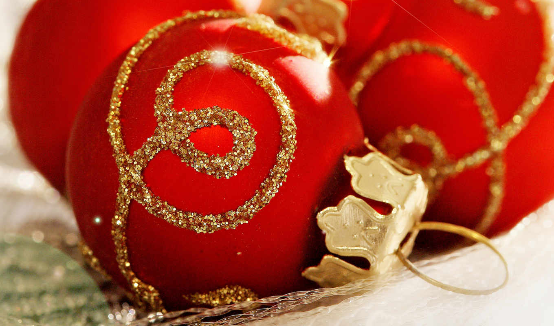год, новый, рождество, шары, праздник, дек, обоях, твой,