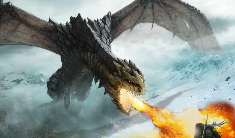 дракон, ярость, нападение, арт, огонь, картинка, рисунки,