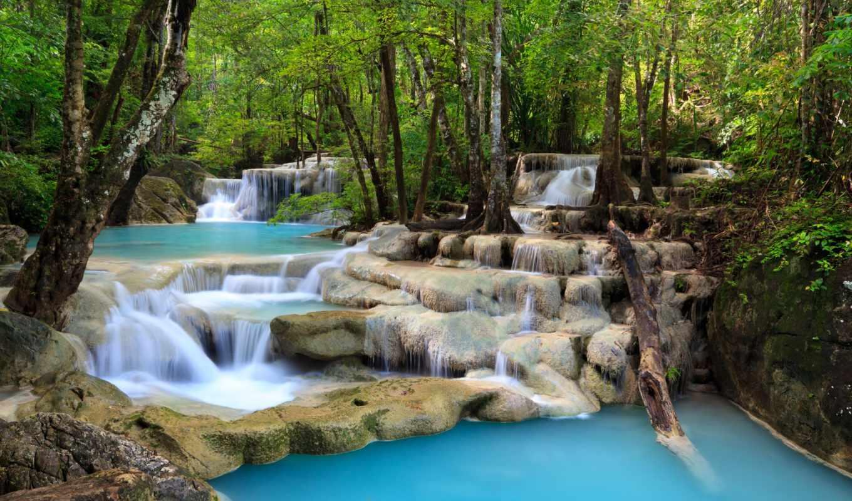 водопад, trees, озеро, небо, clouds, море, deep, landscape, лес,
