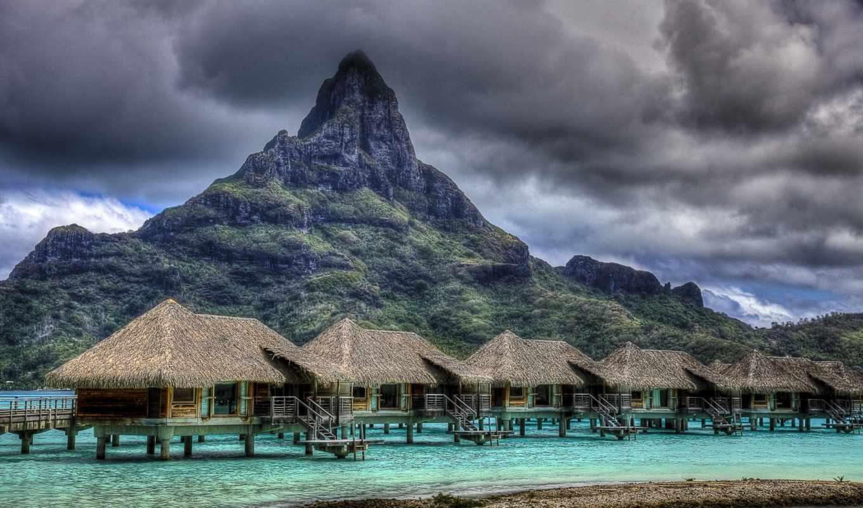 гора, фотографий, остров, острова, mount, земле, удивительных, bora, otemanu,