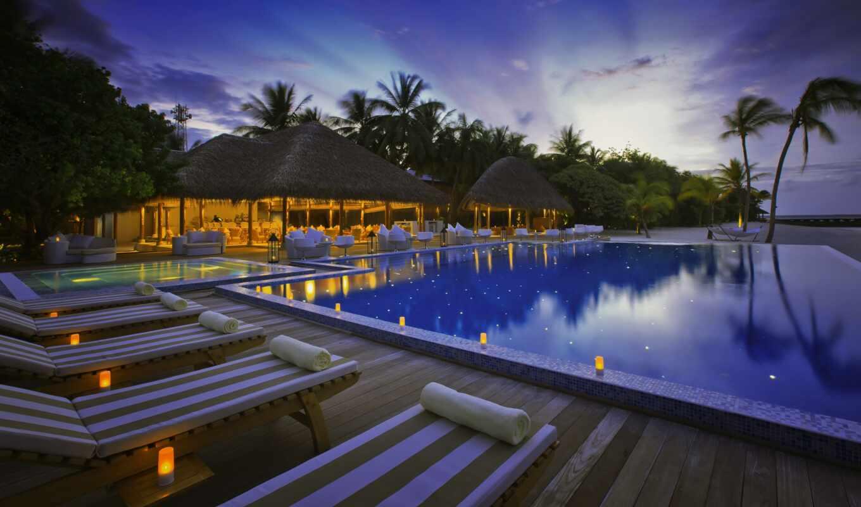 бассейн, ночь, hotel, остров, shah, maldive