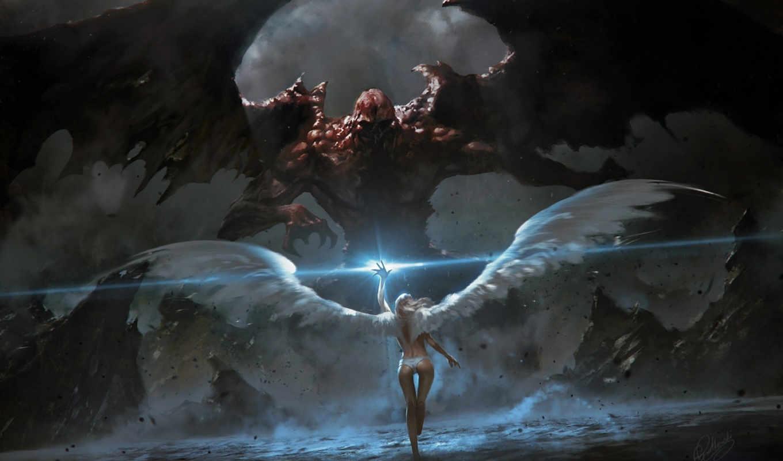 ангел, демон, крылья, девушка, магия, скалы, картинку, арт, картинка, wings,