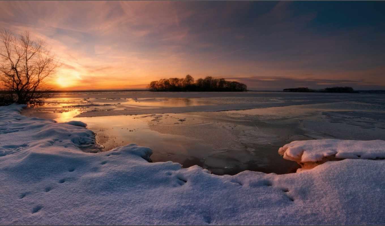 закат, озеро, снег, вечер, зима, картинка,