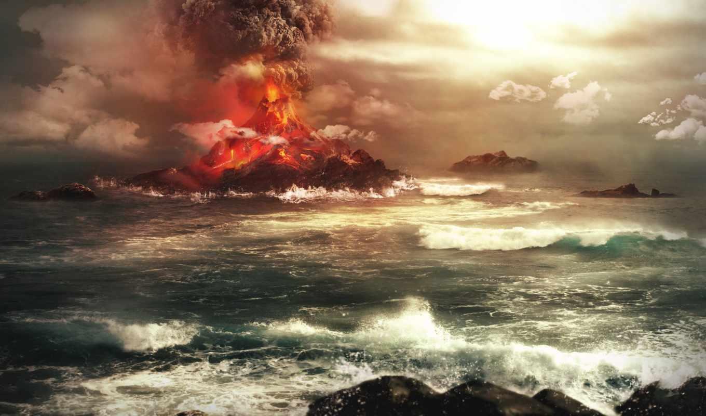 вулкан, извержение, море, графика, дым,