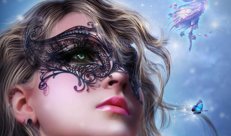 devushka, art, лицо, vzglyad, волосы, маска, губы, черная,