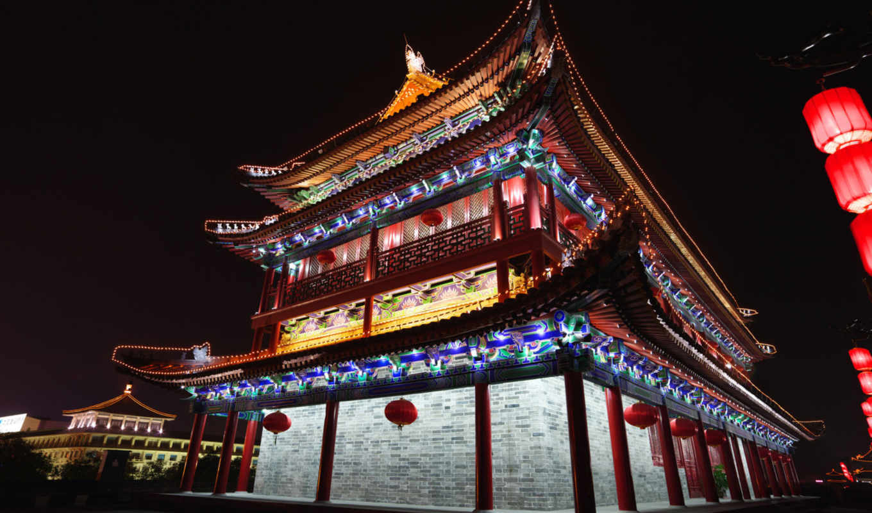 china, architecture, beijing, китайская, город, огни, ночь,