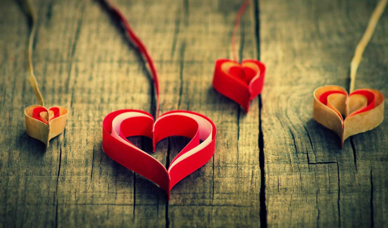 сердце, доски, красный, лента, бумага, желтый, белый