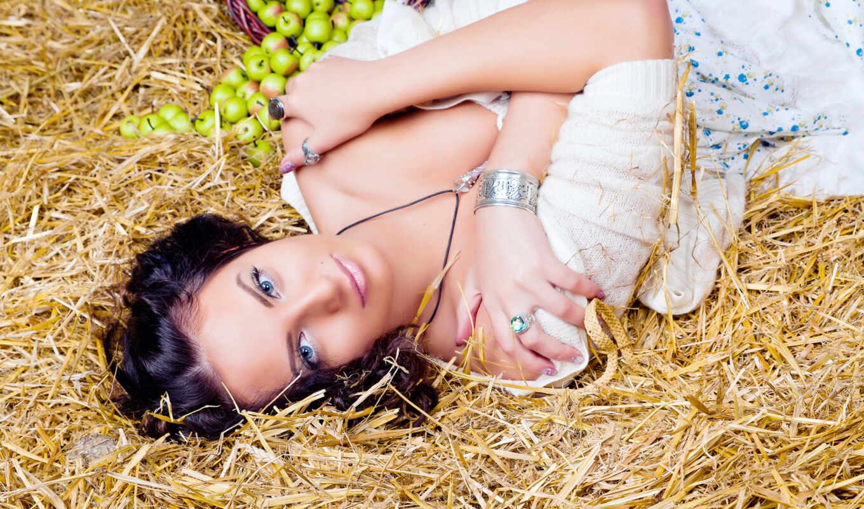 женщина, лицо, природа, волосы, модель, portrait, сено, глаза, яблоки