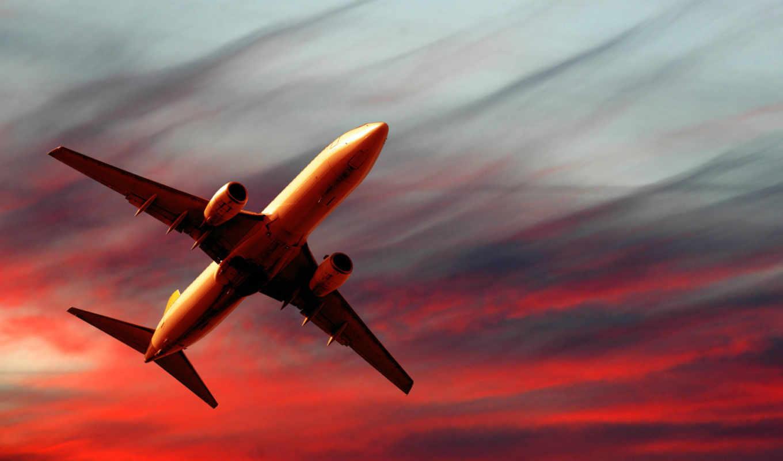 самолет, обои, закате, закат, авиация, полет, крас