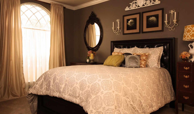 ,спальня,кровать,окно,зеркало