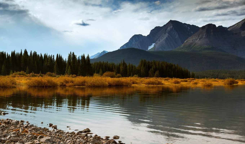 ozero, горы, берег, kartinka, озера, priroda, небо, les, деревя, трава,