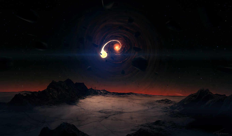 ночь, planet, полет, гладь, минимализм, cosmos, video, страшное, небо, луна,