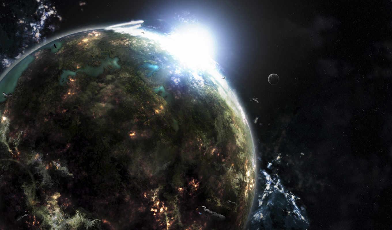 планета, звезда, свет, картинка, space, impact, qiq,
