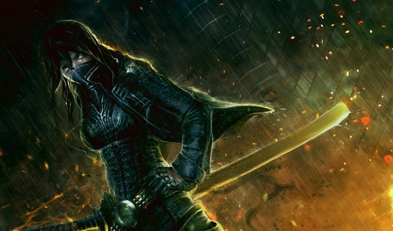 катана, меч, маска, воин, дождь, девушка, ночь, искры, арт, часть, картинку, картинка, чтобы,
