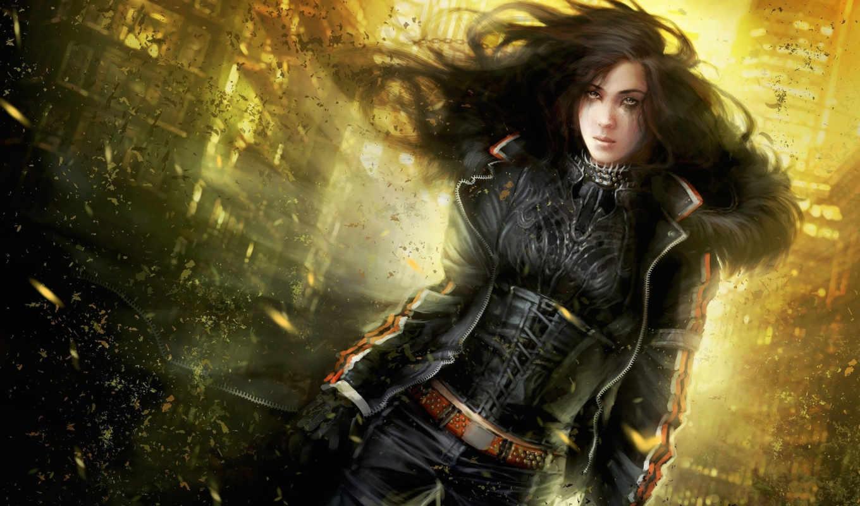 ветер, девушка, kira, cgwallpapers, crow, dust, science, fantasy,