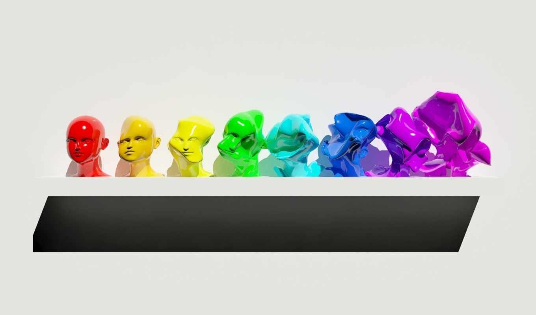 shelf, colored, figurines, multi,