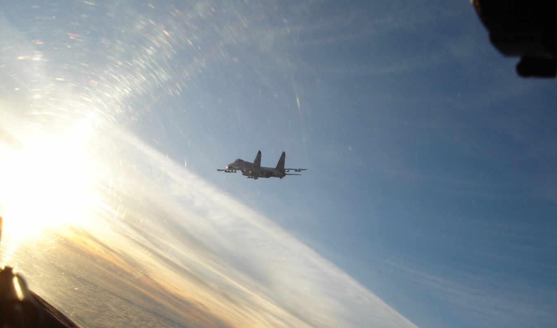 облака, небо, истребитель, полет, су,