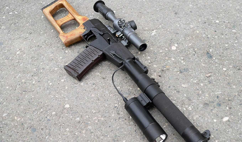 оружие, винторез, фонарь, оптика, бетон