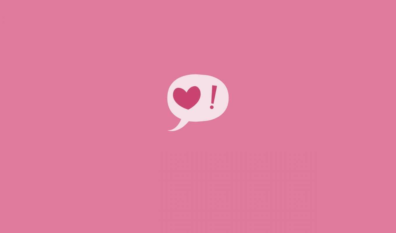 надпись, реплика, розовый, сердце, восклицательный знак