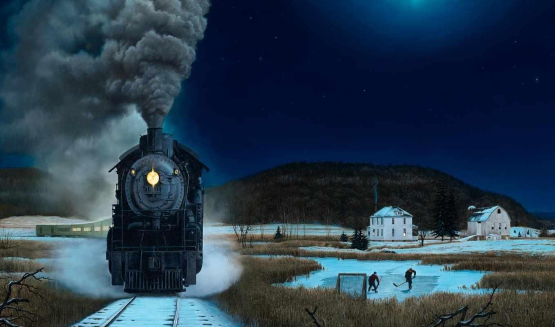 поезд, ночь, winter, снег, живопись, desktop,