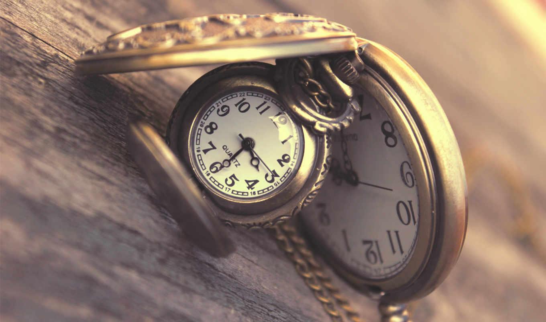часы, карманные, древесина, макро