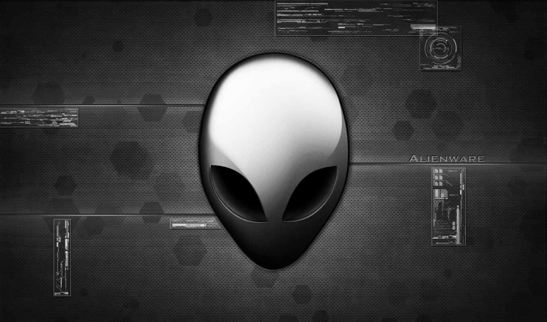 alienware, лого, серый