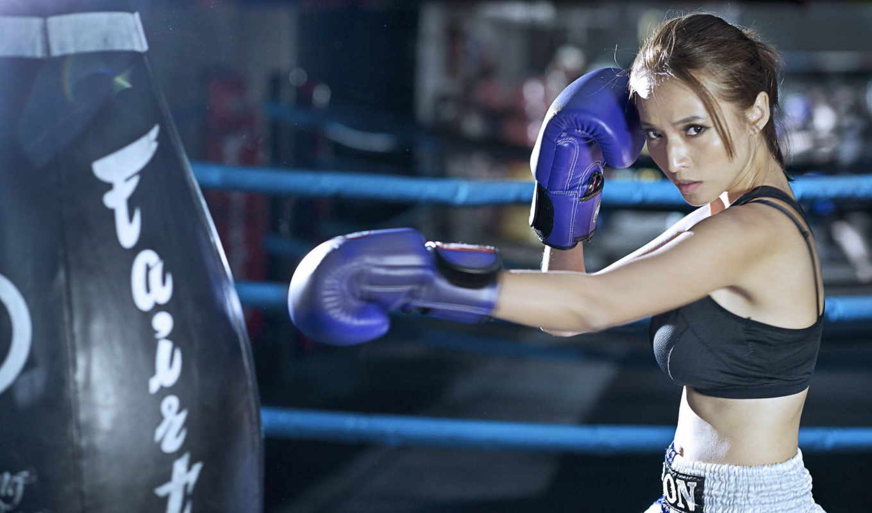 тренировочный, девушка, спорт, бокс, девушка,