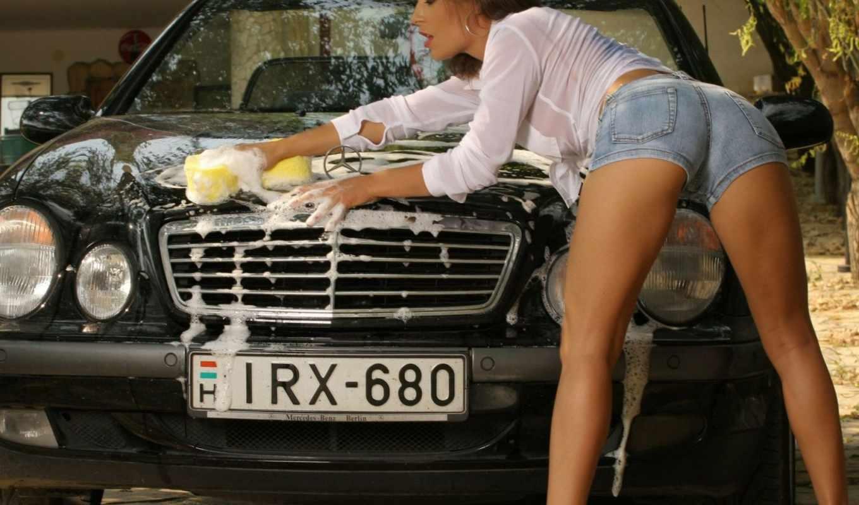 машину, моет, девушка, devushki,