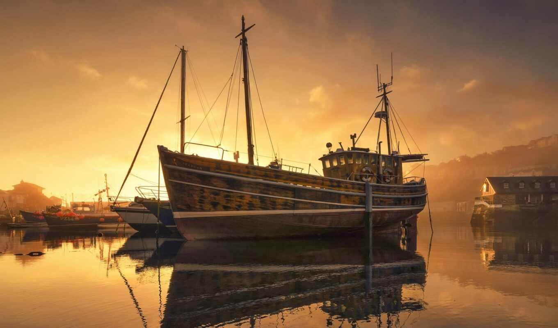 корабль, закат, море, туман, ночь, stick, причал