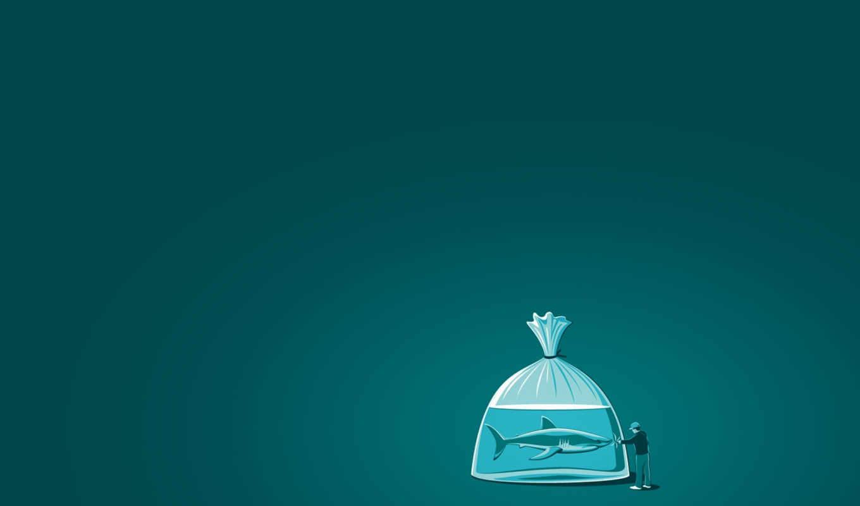 акула, человек, пакет, вода,