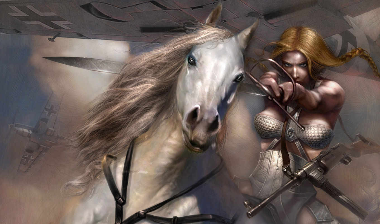 девушка, конь, воин, фэнтези, коне, картинку, белом, автоматом, лошади, изображение, picsfab, девушки, картинок, жеребце, меч,