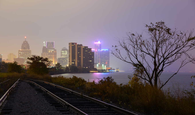 город, дорога, железная, ночь,