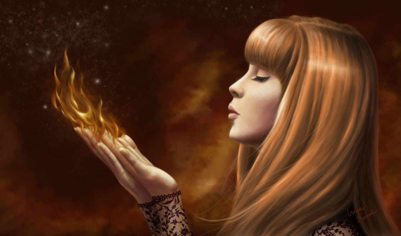 девушка, огонь, пламя, разных, огня, devushki, разрешениях, руках,