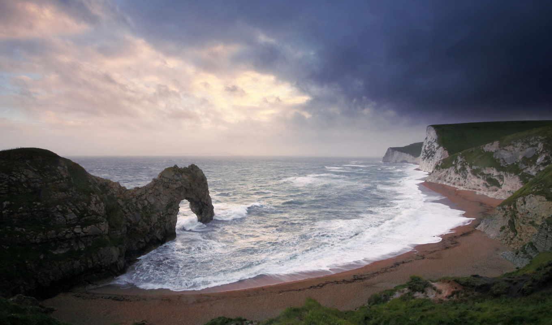 море, скалы, арка, пляж, волны,