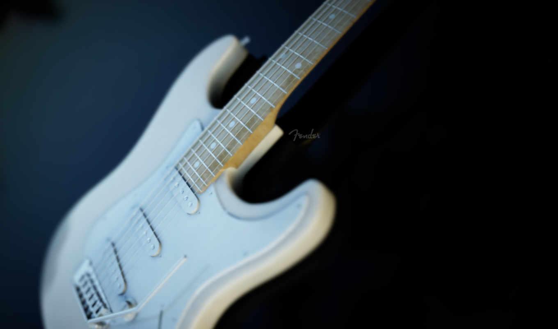 гитара, fender, музыка, картинка, white, электрогитара,