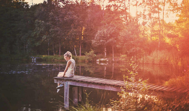 девушка, мосту, сидит, об, озера, берегу, afrikaans,